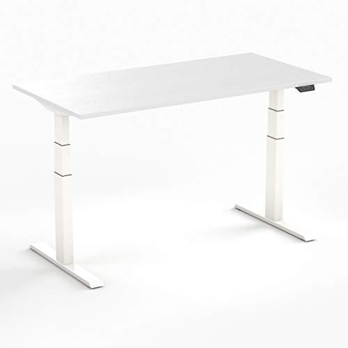 Worktrainer Elektrischer Sitz-Steh-Schreibtisch Steelforce 670 (Weiß/Weiß 120 x 80cm)