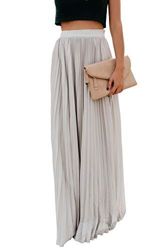 ebossy Women's High Waist Flowy Pleated Chiffon Maxi Skirt (Small, White)