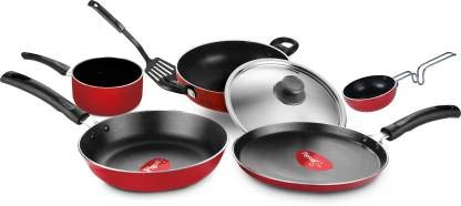 Sauce Pan Spatula Fry Pan Tawa Tadka Pan Kadhai Non- Stick cookware- Favorite 7Pcs Gift Set Cookware Set (Aluminium, 7 - Piece)