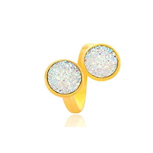 yichahu Anillo ajustable con piedra de cristal natural de drusa y cristal pavé de diamantes de imitación (oro + blanco)