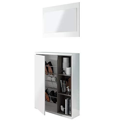 Recibidor Zapatero con Espejo, Modelo Adhara, Acabado en Blanco Brillo y Gris Ceniza, Medidas: 108 cm (Alto) x 79 cm (Ancho) x 25 cm (Fondo)