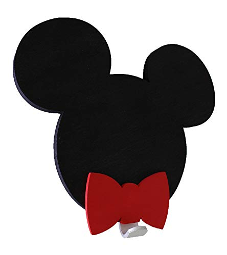 Mia studio - Appendiabiti da Parete 3D con Topolino o Minnie, per cameretta dei Bambini, con Nome Personalizzato, in Legno Fatto a Mano, Decorazione per la casa Black Mickey,Red Bow