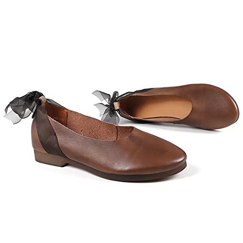JXILY Sandalias De Mujer, Zapatos Literarios De Cordones De Cuero, Zapatos Literarios, Zapatos De Cuero Retro, Gran Tamaño Antideslizante, Primavera Y Verano,Marrón,36