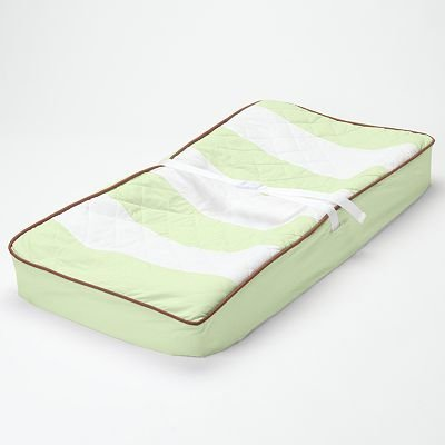 Bacati - Metro Lime/White/Chocolate Quilted Changing Pad Cover