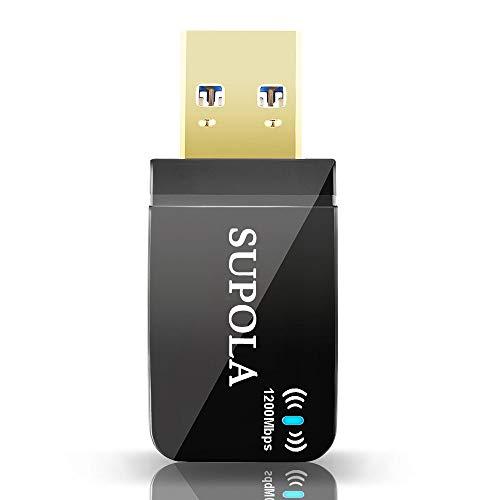 SUPOLA USB WiFi Adaptador 1200Mbps Mini WiFi Antena USB 3.0 802.11 AC Receptor WiFi con Doble Banda 2.42G/300Mbps 5.8G/867Mbps,WiFi Dongle Soporte Windows 10, 8.1, 8, 7, XP/Mac OS X 10.9-10.15