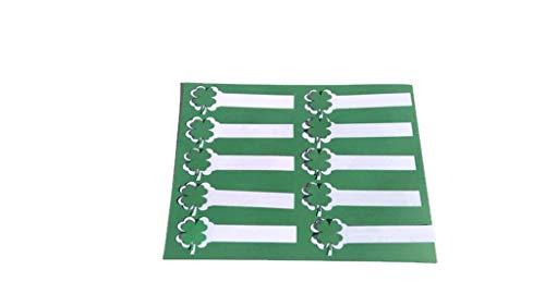 St Patricks Shamrock 4 Leaf Clover Irish White Napkin Rings Green Clovers Set of 10