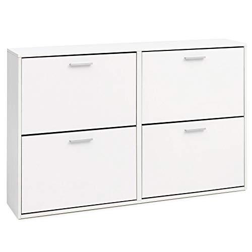 KadimaDesign dynamic24 - Armario Zapatero (120 x 81 x 24 cm, Madera, 4 Compartimentos), Color Blanco
