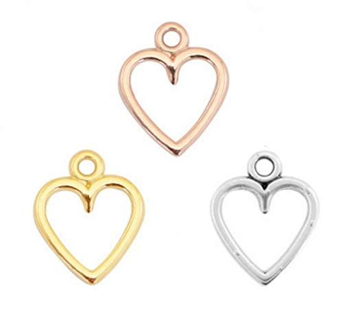 Sadingo DQ Metallanhänger Herz, Herzanhänger - 3 Stück Gold, Silber und Roségold - Zamak - 14x11 mm - Schmuck basteln