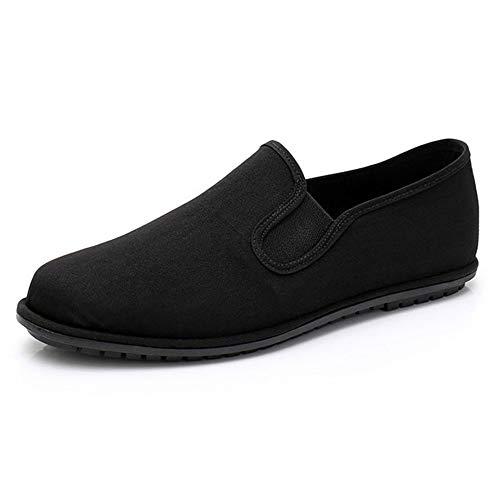 FJJLOVE Negro Zapatos De Tela De Hombre, Ropa Transpirable Artes Marciales China Tradicional Viejo Beijing Calzado Kung Fu Práctica De La Mañana Ejercicio De Tai Chi Zapatos,A,40