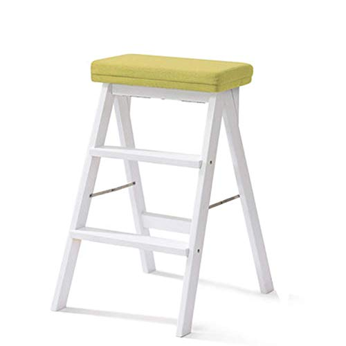 Leiter Klappstühle Kiefer Dreistufige Leiter Schlafzimmer, Starke Tragfähigkeit (Farbe: GRÜN, Größe: 42x48x64cm)