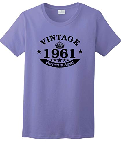 60th Birthday Party Supplies 60th Birthday Gift Vintage 1961 Perfect Aged Crown Ladies T-Shirt Large Violet