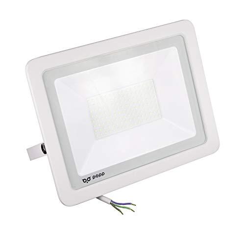 POPP® Foco Proyector LED 100W para uso Exterior Iluminación Decoración 6000K luz fria Impermeable IP65 Blanco transparente y Resistente al agua. (100)