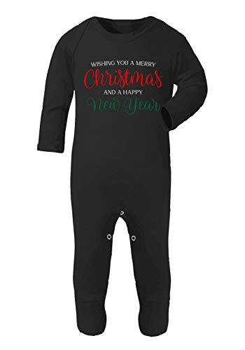 Wishing You a Merry Christmas and a Happy New Year Baby Romper Jumpsuit with feet, 6-12 Months, Black