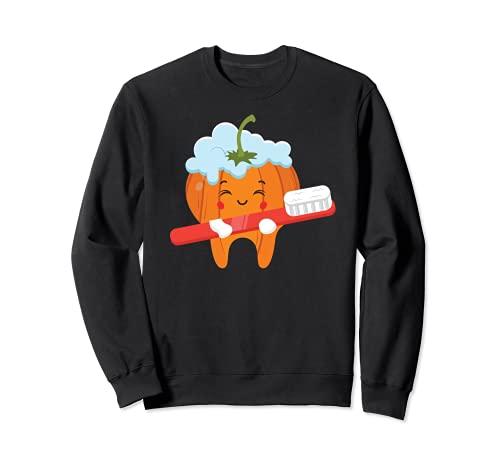 Dientes-cepillo calabaza perezoso DIY Halloween disfraz divertido Dental Sudadera