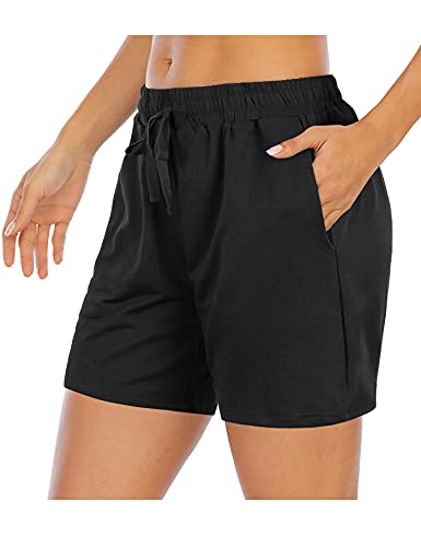 Tencole Women Shorts Casual Summer,Thin Elastic Waistband Knit Shorts with Deep Pockets Loose Fitting Lounge Pantalones Cortos de Mujer for Running Errands Jogging Basic Casualwear Pant Daily Wear