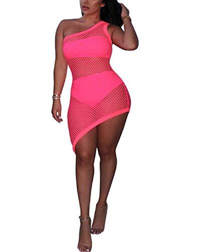 Kafiloe 3 Pieces Swimwear for Women Bandeau Top + Bikini Bottom + Mesh See Through Cover Up Dress Rose Red 3XL