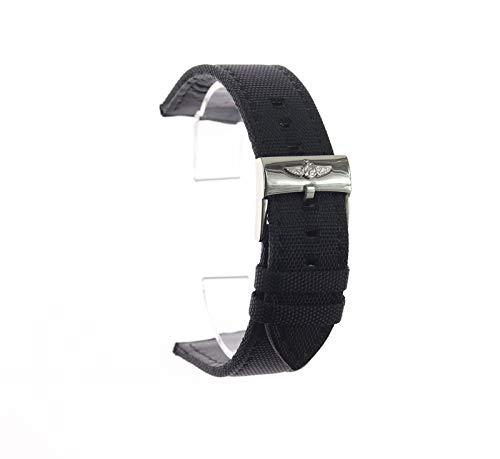 ROUHO Cinturino Impermeabile in Tela con Fibbia A Perno 22Mm per Cinturino in Nylon Breitling-Nero