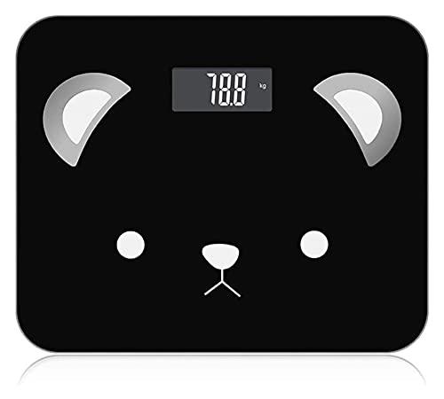 M3 Decorium Bluetooth Smart Bathroom Scales Linda Peso Corporal Escala Digital 9 Datos funcionales Peso máximo 400 Lbs / 180kg (Color : Black)