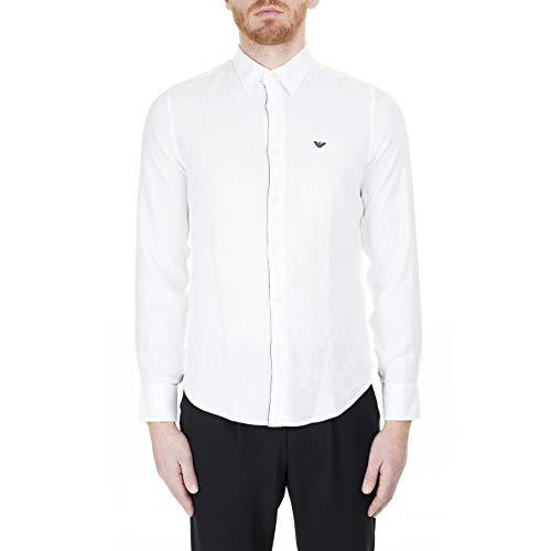 Emporio Armani Hemd weiß Regular Fit mit blauem Rand und Logo, Weiß Small