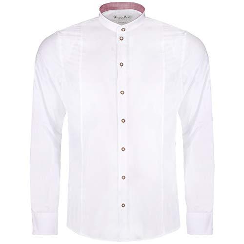 Gweih und Silk Herren Trachten-Mode Trachtenhemd Body Fit Achensee zweifarbig in Weiß und Rot traditionell, Größe:XL, Farbe-Zweifarbig:Weiß/Rot