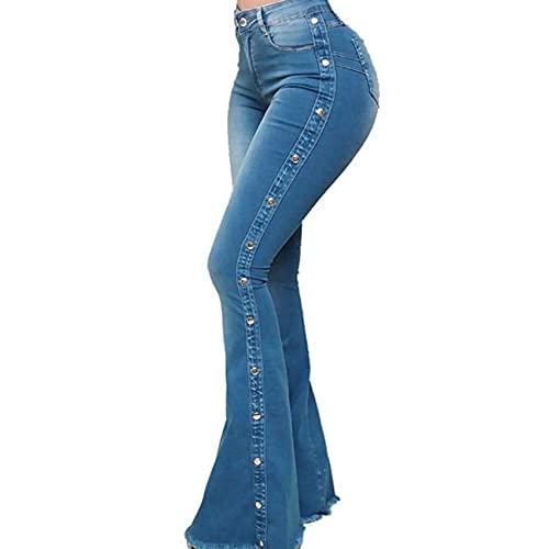 WJANYHN Pantalones Acampanados EláSticos De Cintura Alta Pantalones Vaqueros con Cuentas De Moda para Mujer