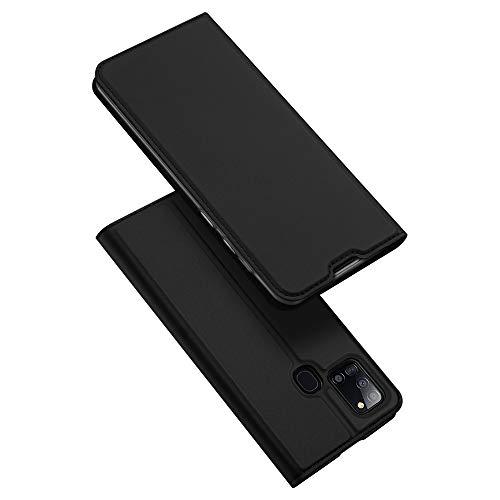 DUX DUCIS Hülle für Samsung Galaxy A21S, Leder Flip Handyhülle Schutzhülle Tasche Hülle mit [Kartenfach] [Standfunktion] [Magnetverschluss] für Samsung Galaxy A21S (Schwarz)