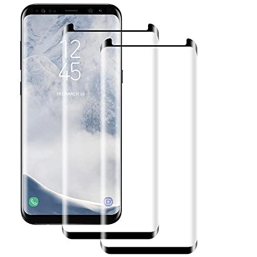 Verre Trempé pour Samsung Galaxy S8 Plus [2 pièces] Haute Qualité 3D Incurvé Couverture Complète Dureté 9H, Sans Bulles, Film de Protection d'Écran pour Samsung Galaxy S8 Plus
