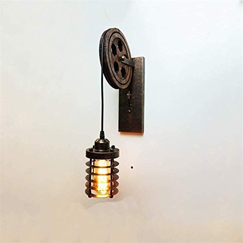 Lámpara de pared industrial retro de la polea, lámpara de pared interior, decoración de la habitación LOFT americana, bar, corredor, bar, cafetería