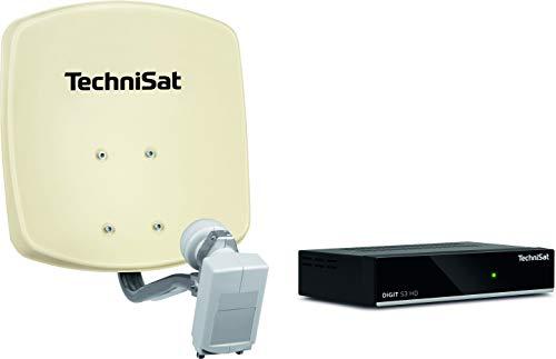 TechniSat DIGIDISH 33 – Satelliten-Schüssel Komplettset mit HD Receiver (33 cm Sat-Anlage mit Wandhalterung, Universal Twin-LNB für bis zu 2 Teilnehmer, 10 m Kabel und Sat-Receiver) beige