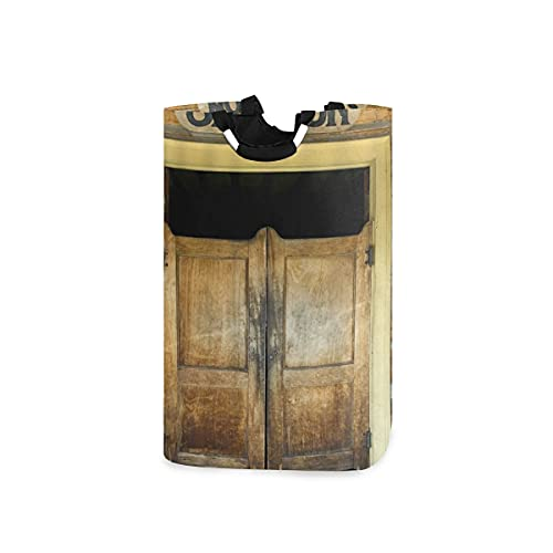 YUDILINSA Laundry Hamper 52L,Saloon Doors Of Old Wooden Building Rustic Barn Gate,Collapsible Washing Laundry Hamper Basket Fabric Bag,Waterproof for Baby Toys,Bedroom