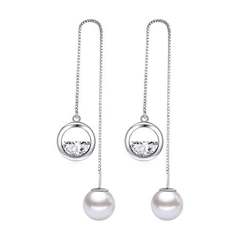 TLBB Xiyanike Fashion 925 Sterling Silver Caja de Perlas de Lujo Cadena de la Cadena de la tasela Larga Línea de Oreja Pendientes de Gota Zircon Previene alergia para Las Mujeres