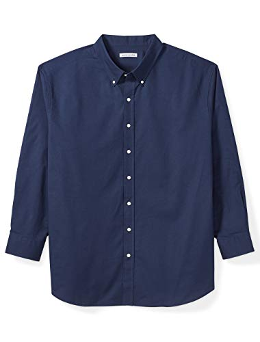 Amazon Essentials Men's Big & Tall Long-Sleeve Oxford Shirt fit by DXL, Navy, 3X