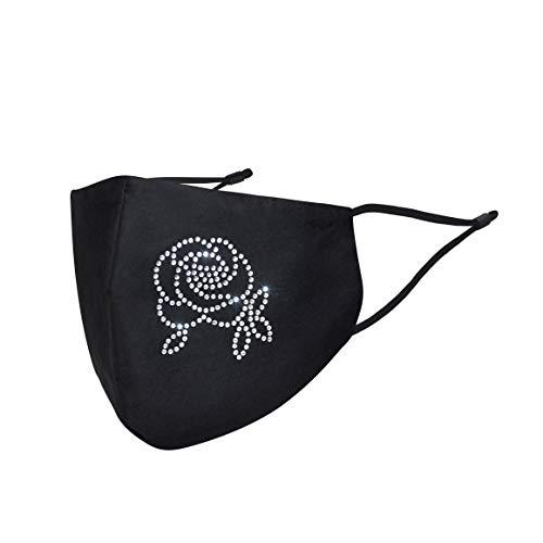 Stoffmaske Mund und Nasenschutz Glitzer Blume Rose   Maske Mundschutz Waschbar Wiederverwendbar Atmungsaktiv   mit Motiv Schwarz Baumwolle Glänzend (1 x 1 Einheit)