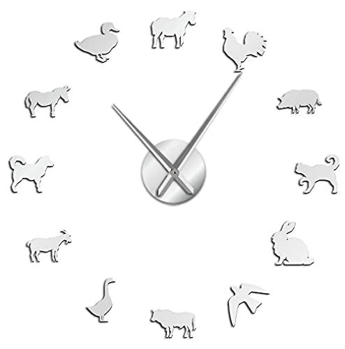 J-Clock Animales Granero Reloj Pared Grande DIY Moderno Etiqueta Espejo 3D Metal, Relojes Grandes silenciosos Decoraciones Escolares Oficina en casa