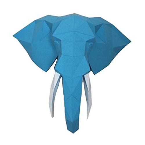 Cabeza De Elefante 3D Arte De Papel Geométrico Hecho A Mano Rompecabezas De Origami Papel De Bricolaje Juguete De Papel Escultura De Papel Modelo De Papel Decoración De Pared Estereoscópica,Azul