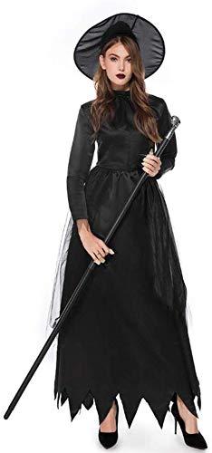 XIAOXIAO Disfraces de Halloween, Negro Diablo Bruja del Vestido del Traje del...