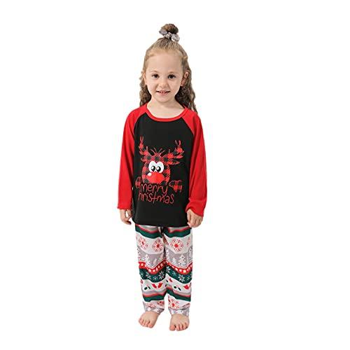 FeelFree+ Pijamas Familiares Navideñas Conjuntos para Hombre Mujer Niños Niña Bebe Regalo Estampado de Navidad Manga Larga Tops y Pantalones largo 2 Piezas Invierno Camisón Casual Homewear