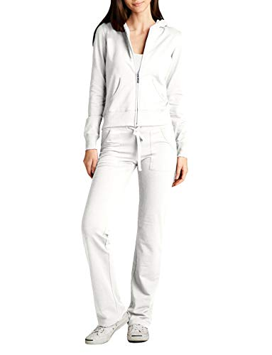 NE PEOPLE Womens Casual Basic Terry Zip Up Hoodie Sweatsuit Tracksuit Set S-3XL White