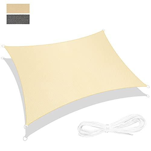 RATEL Toldo Vela de Sombra Rectángulo Arena 4 × 6 m, protección 95% UV y Transpirable Impermeable, para Jardín, Patio, Exteriores, Pergola Decking