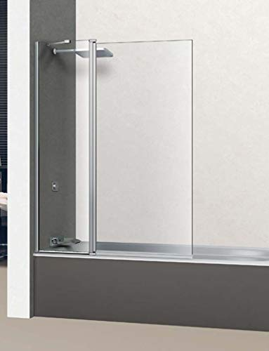 Mampara de Bañera Frontal - 1 Hoja fija + 1 hoja abatible 180º - Cristal de Seguridad 6 mm - ANTICAL INCLUIDO - Modelo GROVE |BAÑO| - (105 (45+60))