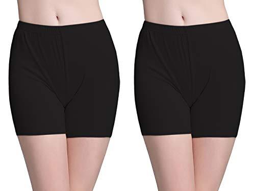 Vinconie Leggins Kurz Damen Unterkleid Leggings Kurze Hose Radler Shorts Panties, 2 Pack: Schwarz & Schwarz, Medium / (42 44)