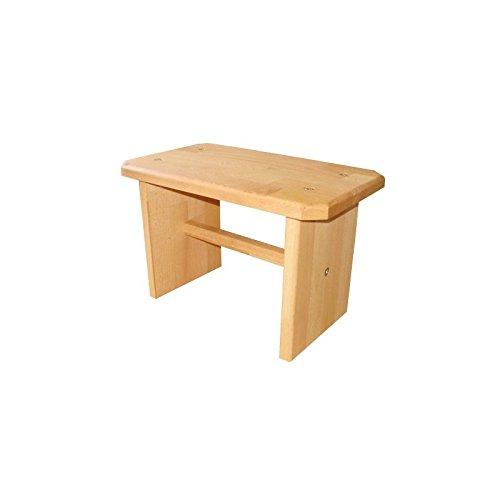 Stabiler Hocker/Schemel/Tritt, Fußbank aus Massivholz Buche Natur, echtes Holz