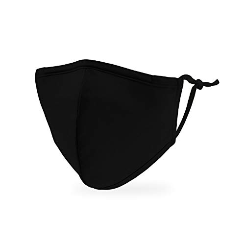 Weddingstar Kid's Washable Cloth Face Mask Reusable and Adjustable Protective Fabric Face Cover w/Dust Filter Pocket - Black