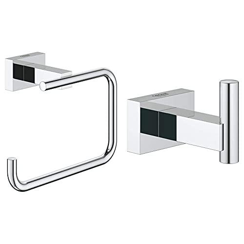 Grohe Essentials Cube Portarrollos de Baño, Acabado Cromado, con Tapa (Ref. 40507001) + Essentials Cube Colgador de Albornoz, fijación empotrada (Ref. 40511001)