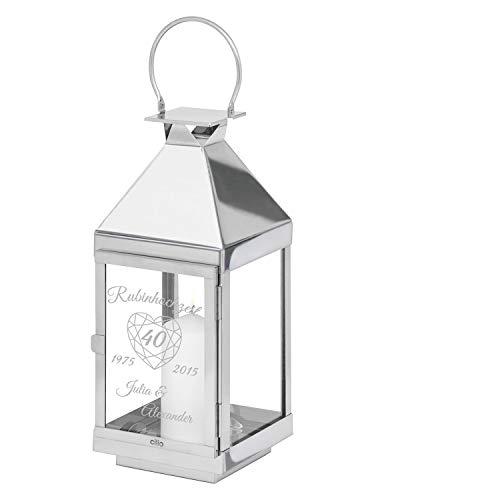 Geschenke 24: Laterne Rubinhochzeit - 36 cm - gravierte Laterne - originelle Idee zum 40. Hochzeitstag - Laterne mit Gravur