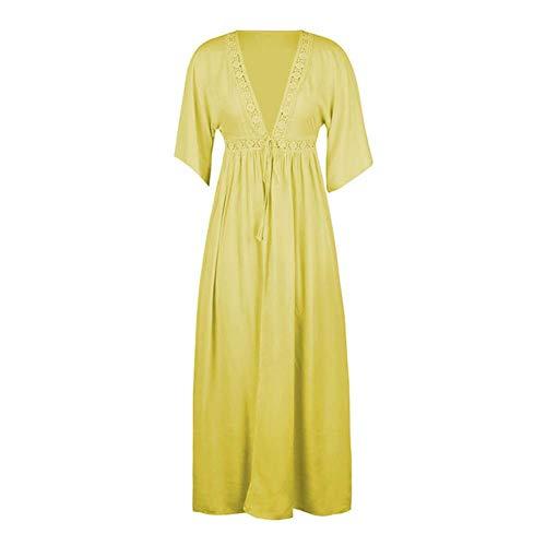 Kai&Guo 2020 Damen-Sommerkleid, halblange Ärmel, Schnürung, Cardigans, Maxikleid, Strandkleid, V-Ausschnitt, Länge vorne, offen M 193016-gelb
