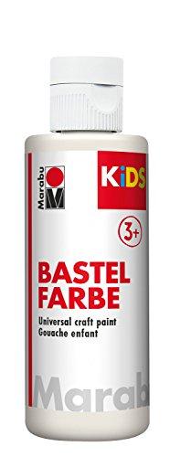 Marabu 03040004070 - Kids Bastelfarbe weiß 80 ml, Farbe für Kinder ab 3 Jahre zum Basteln und Malen, parabenfrei, vegan, gut deckend, schnell trocknend auf Papier, Holz, Stein, auswaschbar