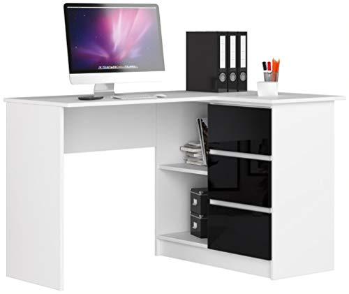ADGO B16 - Mesa de ordenador esquinera de madera (124 x 77 x 85 cm, 3 cajones para un espacio para niños y jóvenes, taller y oficina, correcta, color blanco y negro brillante)