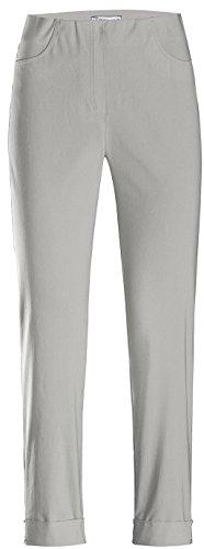 Stehmann IGOR-680 14060-951, sportive Damenhose mit aufgesetzten Taschen und Aufschlag, 6/8 Länge, Größe 42, Farbe Silber