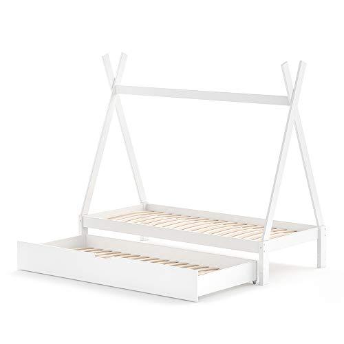 VitaliSpa Kinderbett Tipi Hausbett weiß Bett Kinderhaus Holz 90x200cm Als Umbauvariante Höhenverstellbar (Weiß, Bett mit Bettschublade)